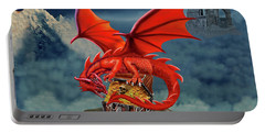 Red Dragon Guardian Of The Treasure Chest Portable Battery Charger by Glenn Holbrook