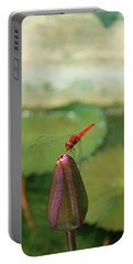 Red Dragonfly At Lady Buddha Portable Battery Charger
