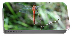 Portable Battery Charger featuring the photograph Red Dragonfly by Karen Silvestri