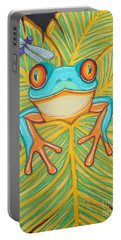 Red Eyed Tree Frog And Dragonfly Portable Battery Charger