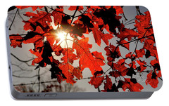 Portable Battery Charger featuring the photograph Red Fall Leaves by Meta Gatschenberger