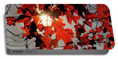 Red Fall Leaves Portable Battery Charger by Meta Gatschenberger