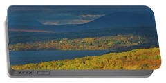 Red Farm House In Evening Light Portable Battery Charger by Alana Ranney