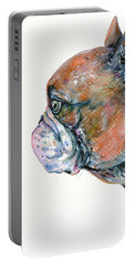 Portable Battery Charger featuring the painting Red Fawn Frenchie by Zaira Dzhaubaeva