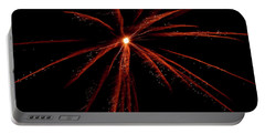 Portable Battery Charger featuring the photograph Red Fireworks #0699 by Barbara Tristan