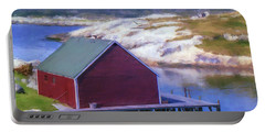 Red Fishing Shed On The Cove Portable Battery Charger by Ken Morris