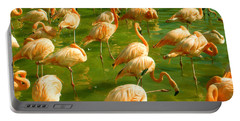 Red Florida Flamingos In Green Water Portable Battery Charger
