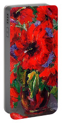 Red Floral Portable Battery Charger
