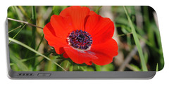 Red Anemone Coronaria 4 Portable Battery Charger