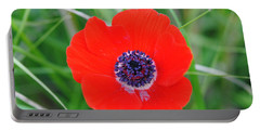 Red Anemone Coronaria 3 Portable Battery Charger