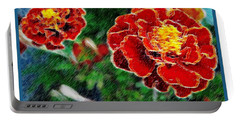 Portable Battery Charger featuring the photograph Red Flower In Autumn by Joan  Minchak