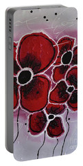 Portable Battery Charger featuring the painting Red Flowers Abstract Art by Saribelle Rodriguez