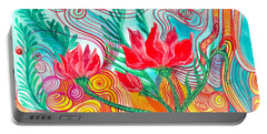 Portable Battery Charger featuring the painting Red Flowers by Adria Trail