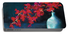 Portable Battery Charger featuring the painting Red Flowers by Frances Marino