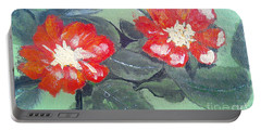 Red Flowers Portable Battery Charger by Francine Heykoop