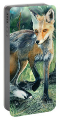 Red Fox- Caught In The Moment Portable Battery Charger by Barbara Jewell