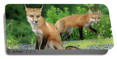 Red Foxes In The Rain Portable Battery Charger