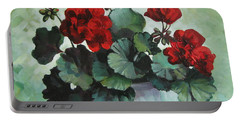 Portable Battery Charger featuring the painting Red Geranium by Elena Oleniuc