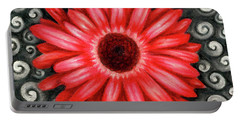 Red Gerbera Daisy Drawing Portable Battery Charger
