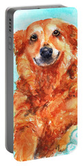 Portable Battery Charger featuring the painting Red Golden Retriever Smile by Carlin Blahnik CarlinArtWatercolor