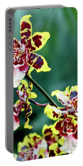Striped Maroon And Yellow Orchid Portable Battery Charger