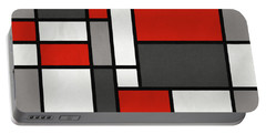 Portable Battery Charger featuring the digital art Red Grey Black Mondrian Inspired by Michael Tompsett