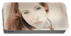 Portable Battery Charger featuring the drawing Red Hair And Freckled Beauty by Jim Fitzpatrick