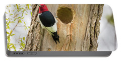 Portable Battery Charger featuring the photograph Red-headed Woodpecker At Home by Ricky L Jones