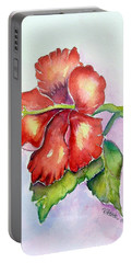 Red Hibiscus Portable Battery Charger by Patricia Piffath