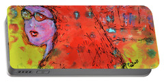 Portable Battery Charger featuring the painting Red Hot Summer Girl by Claire Bull