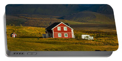 Red House And Horses - Iceland Portable Battery Charger