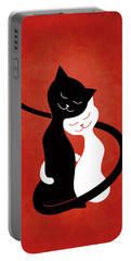 Red Hugging Love Cats Portable Battery Charger