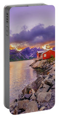 Red Hut In A Midnight Sun Portable Battery Charger