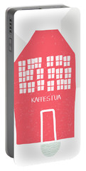 Portable Battery Charger featuring the mixed media Red Kaffestua- Art By Linda Woods by Linda Woods