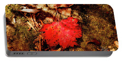 Red Leaf Portable Battery Charger by Meta Gatschenberger