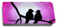Red Love Birds Silhouette Portable Battery Charger