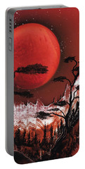 Portable Battery Charger featuring the painting Red Moon by Jason Girard