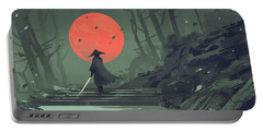 Portable Battery Charger featuring the painting Red Moon Night by Tithi Luadthong