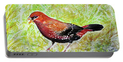 Red Munia Portable Battery Charger by Jasna Dragun