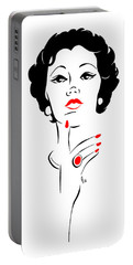 Portable Battery Charger featuring the digital art Red Nails Red Lips by Cindy Garber Iverson