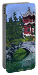 Portable Battery Charger featuring the painting Red Pagoda by Lynne Reichhart