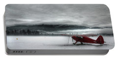 Red Plane In A Monochrome World Portable Battery Charger