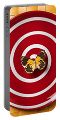 Red Plate And Yellow Black Butterfly Portable Battery Charger