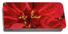 Red Poinsettia Macro Portable Battery Charger by Sally Weigand