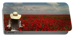 Red Poppies And Lady Portable Battery Charger