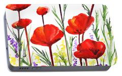 Portable Battery Charger featuring the painting Red Poppies Art By Irina Sztukowski by Irina Sztukowski