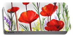 Red Poppies Art By Irina Sztukowski Portable Battery Charger by Irina Sztukowski