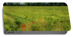 Red Poppies On A Green Wheat Field Portable Battery Charger
