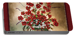 Portable Battery Charger featuring the digital art Red Poppies by Susan Kinney