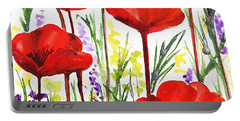 Portable Battery Charger featuring the painting Red Poppies Watercolor By Irina Sztukowski by Irina Sztukowski